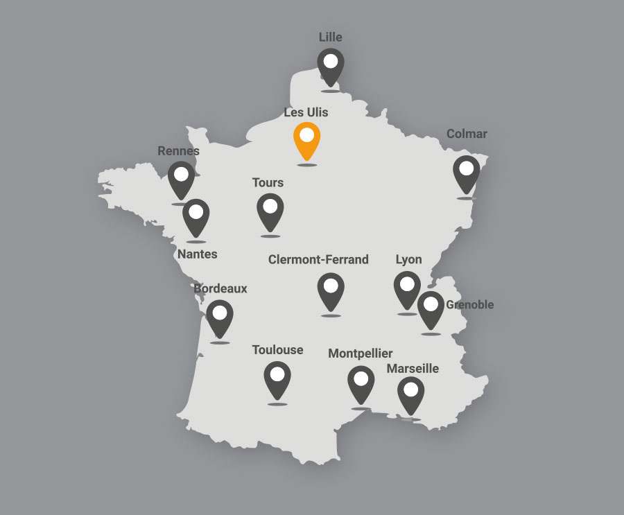 Carte du maillage national Iso Partner